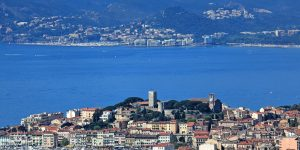 Views over Cannes from a property in the hills. Town and see view