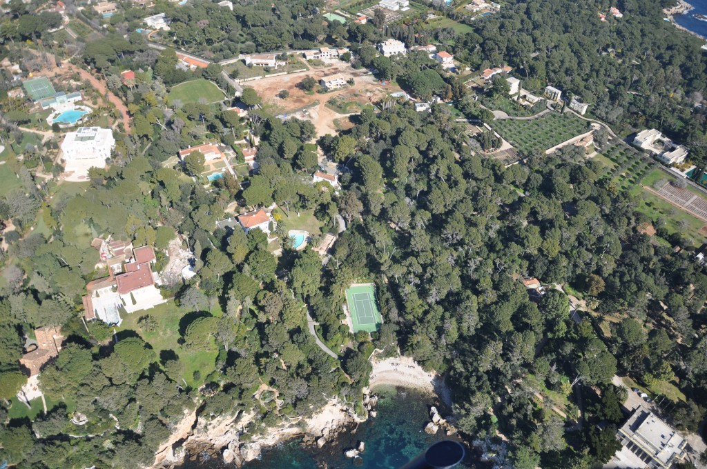 Ariel views over a property on the Cap d'Antibes